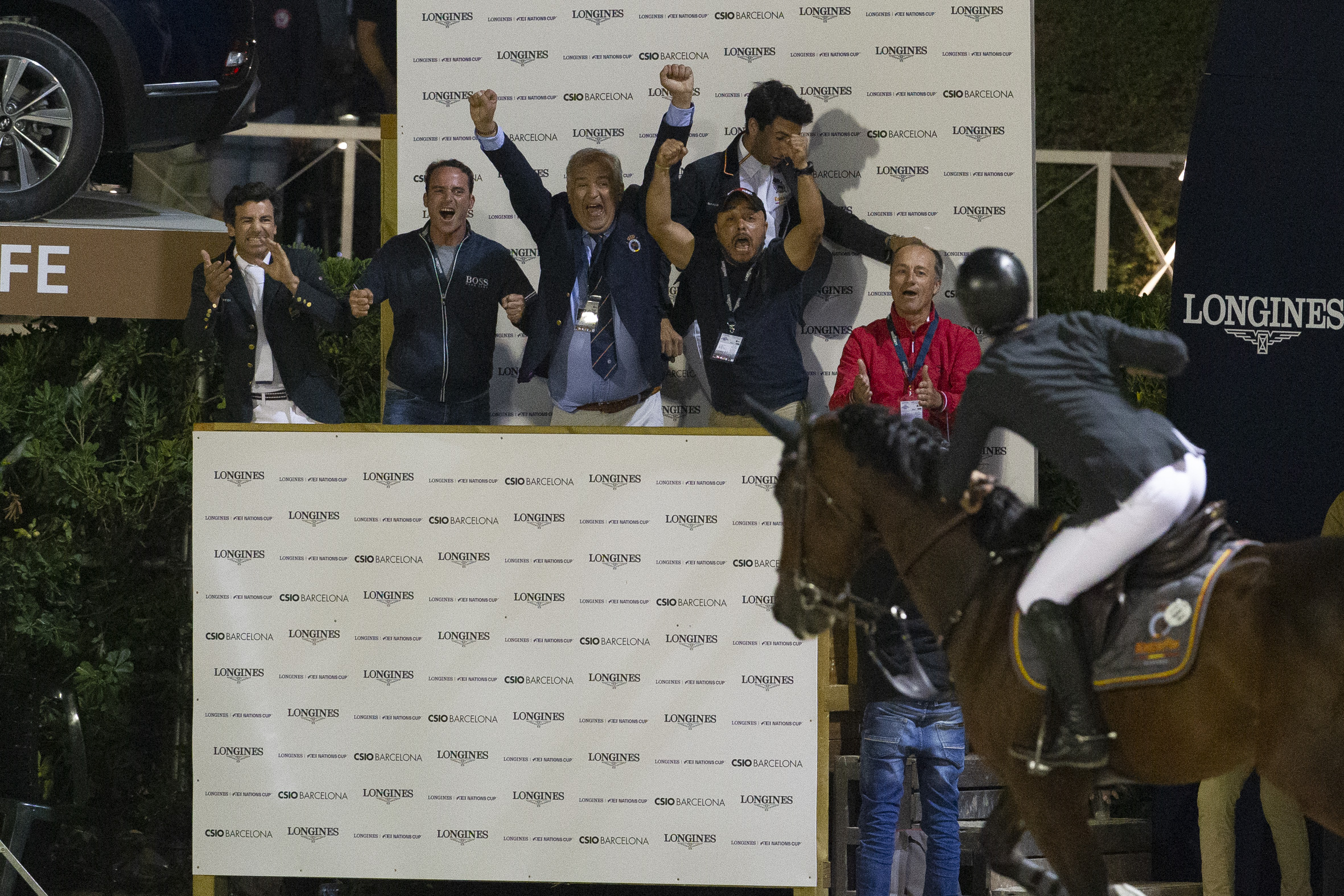 Spanish team joy after winning the Longines Challenge Cup