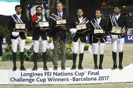 UAE team celebrates victory in Longines Challenge Cup